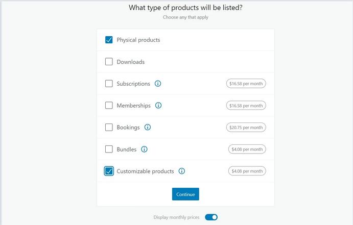 تحديد نوع المنتجات